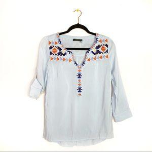 THML Stitch Fix Light Blue Embroidered Shirt EUC